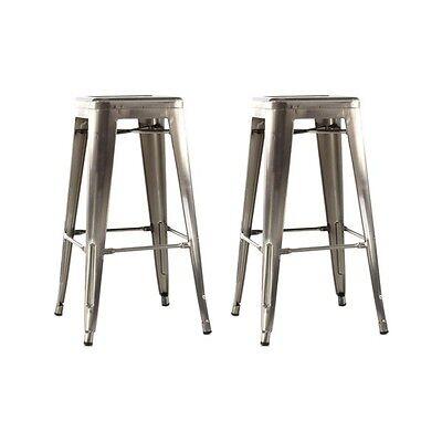 Tabourets de bar 4 pieds Industriel métal grisIRON-SMALL - 67cm (Lot de 2)