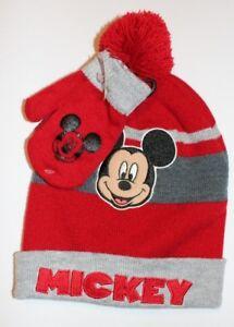 1e778227474f4 New Disney Junior Toddler Boy 2PC Set Hat with Gloves Mittens Beanie ...
