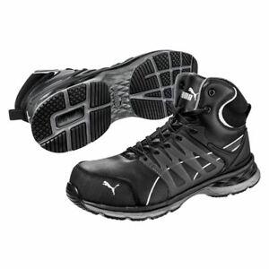 PUMA-63-380-5-Velocity-2-0-Men-039-s-Black-Leather-Comp-Toe-Sneakers