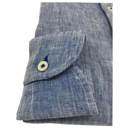 ICON LAB 1961 camicia uomo manica lunga 100/% lino azzurro asola colorata