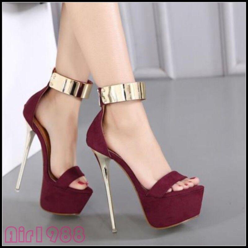 NEUF Escarpins Femme Plateforme Bride Cheville Stiletto Talons Hauts Bout Ouvert Sandales Chaussures