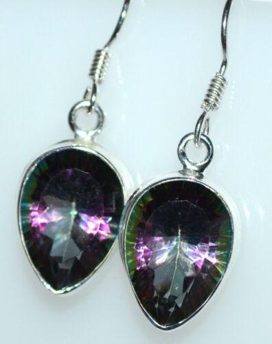 Sterling SILVER SET Mystic Quartz 925 Pendant drop Earrings; Multi Hue Gemstone