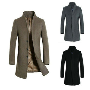 Mens 100% Wool Trench Coat Reefer Jacket Mid Long Peacoat Overcoat ...