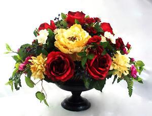Red Table Centerpiece Roses Floral Arrangement Dining Pedestal Urn Ivory Peony Ebay
