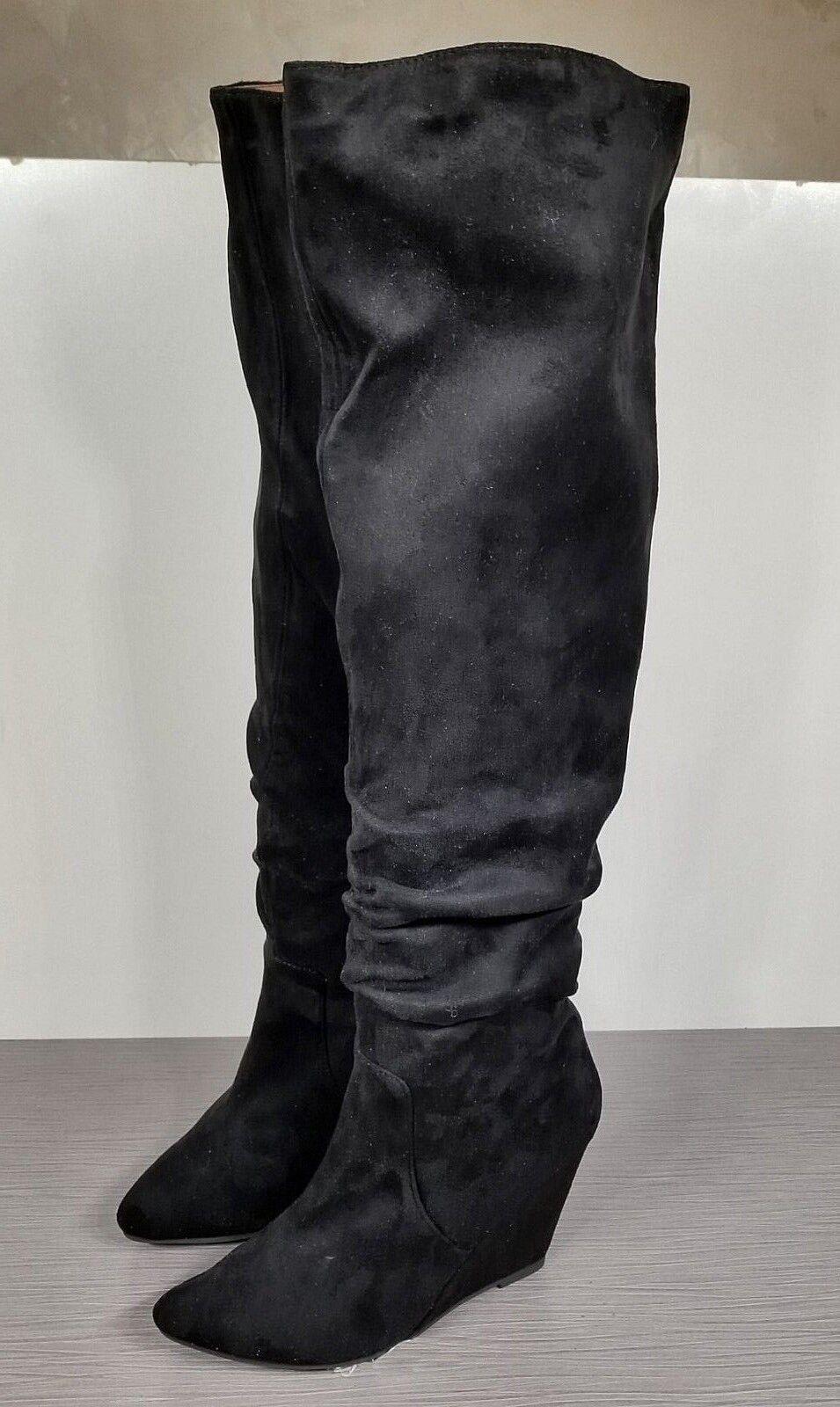 Jeffrey Campbell Revolucion Wedge OTK Boot, Black Faux Suede, Womens Size 8 M