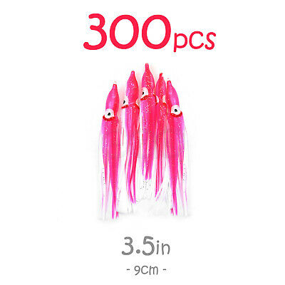 "300pcs 3.5/"" Squid Skirt Trolling Fishing soft Octopus soft fish lures White 9cm"