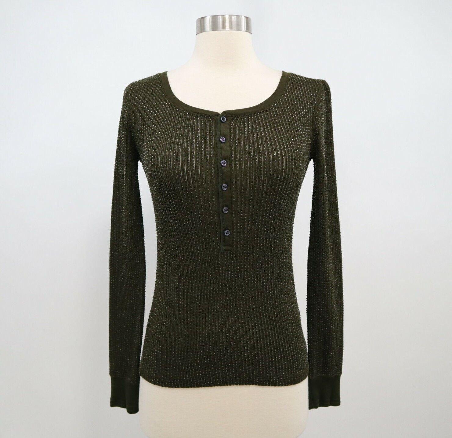 Ralph Lauren Top Shirt Henley damen S P Small Beaded Olive Grün schwarz Label