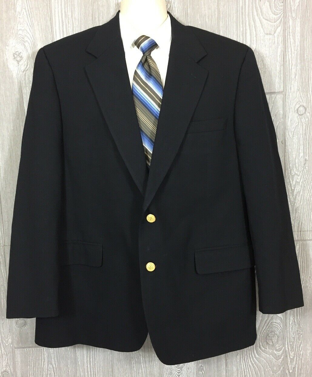 Brooks Bredhers Brooksease Navy Wool Blazer w gold Buttons 44R (t14)