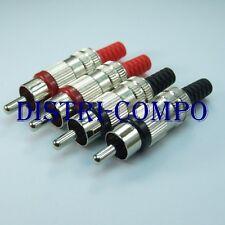 Fiche RCA mâle métal Lumberg protection câble noire et rouge (lot de 4 fiches)