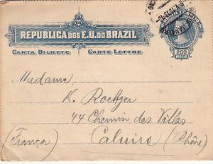 Lettre-Cover-Entier-Postal-Brasil-Rio-De-Janeiro-pour-la-France-1913