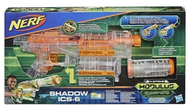 New NERF Modulus Gun - Ghost Ops Shadow ICS-6 Blaster Light Up Glowing Rare