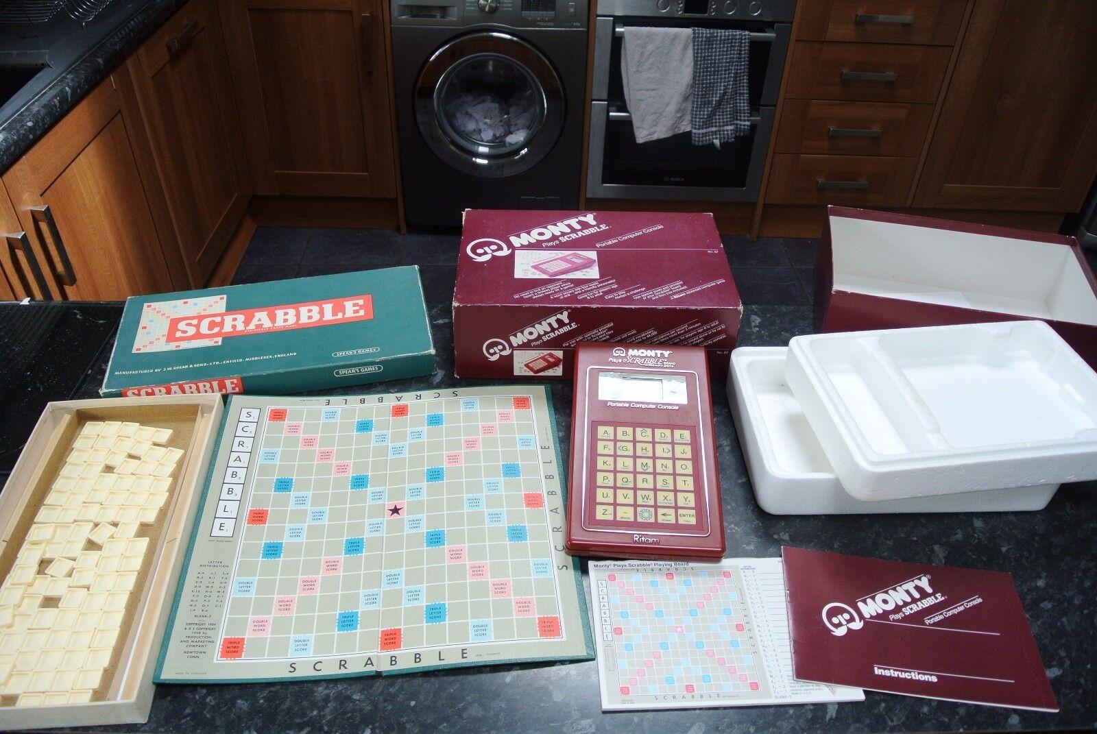 Vintage 1950s Scrabble Set & MONTY Plays Scrabble Computer Component
