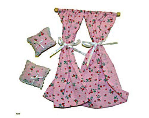 Chaves 36D1071. Gioco da tende rosa rosa rosa e cuscini. Scala 1 12.Casa bambole 71c839