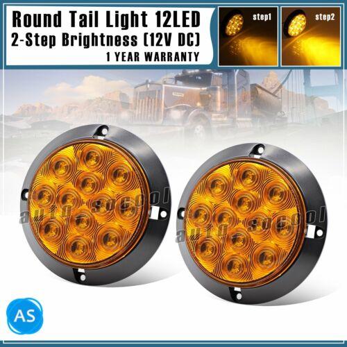 "2x Waterproof Amber 12 LED 4/"" Round Signal Turn Trailer Tail Light Truck RV 12V"