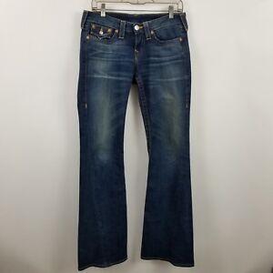 True-Religion-Joey-Womens-Boot-Cut-Flare-Flap-Pocket-Dark-Wash-Blue-Jeans-Sz-29