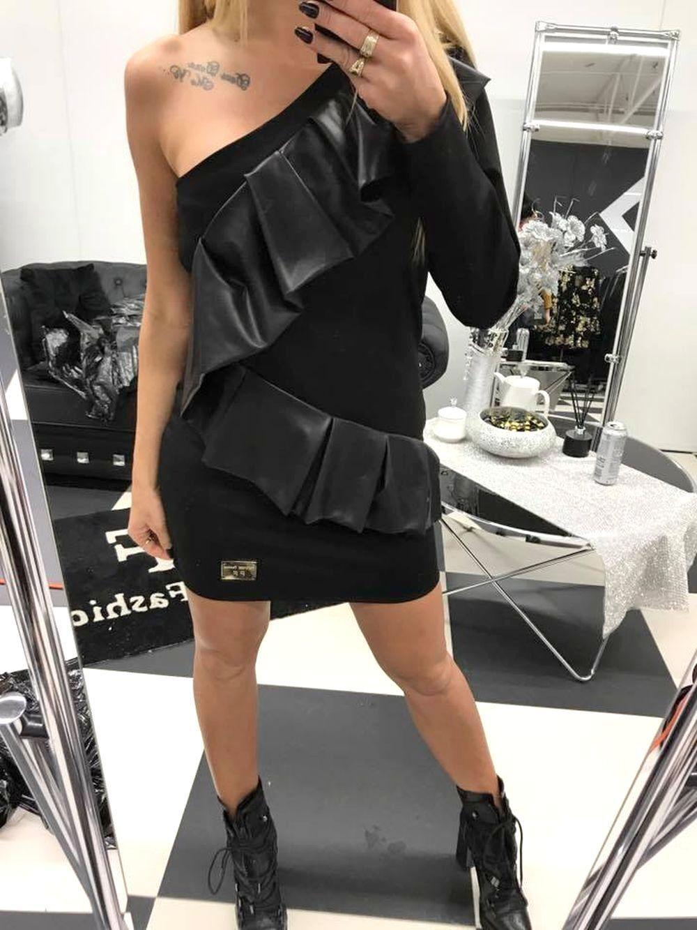 Paparazzi señora vestido de fiesta minivestido vestido oscuros oscuros oscuros túnica camisa larga 36-38  p78 893e00