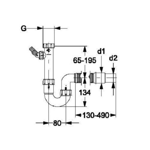 """Haas Röhrensiphon 11//2/"""" Spülsiphon Siphon Geruchverschluß mit Geräteanschluss"""