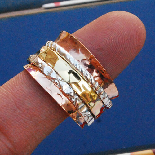 "De cuivre solides .925 large bande spinner ring méditation Statement Bague Taille 6 To 11/"""