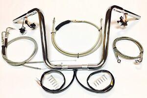 details about 1 1/4 ape hanger 14 chrome handlebar kit w switches 97 -03  harley sportster