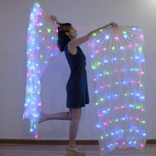 LED fan veils rechargeable silk fire fan praise worship glow light belly dance