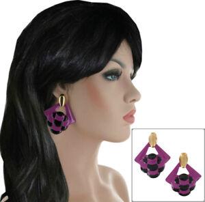 Vintage-1980s-Doorknocker-Dangle-Pierced-Earrings-Purple-Black-Enamel-Gold-Tone