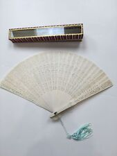"""Japanese Folding Fan Hand 8.5"""" in decorative glass front case Ivory plastic"""