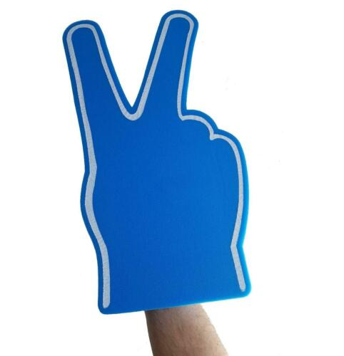 V FOR VICTORY BLUE BIG FOAM HAND FINGER PEACE SIGN PROTEST CHEERING PROP