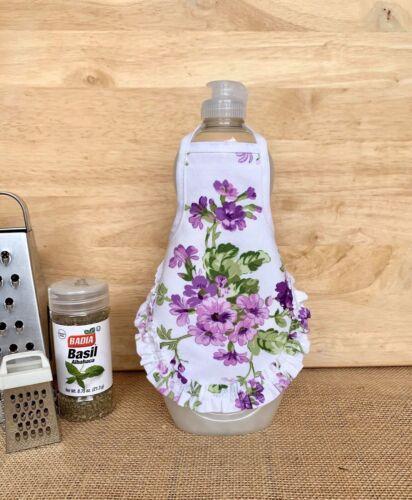 Lavender Lilac Purple Ruffle Kitchen Decor Dish Soap Bottle Apron fits 25 oz