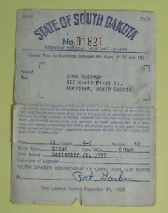 Details about 1959 South Dakota Resident General Hunting Application  License   Free Shipping!