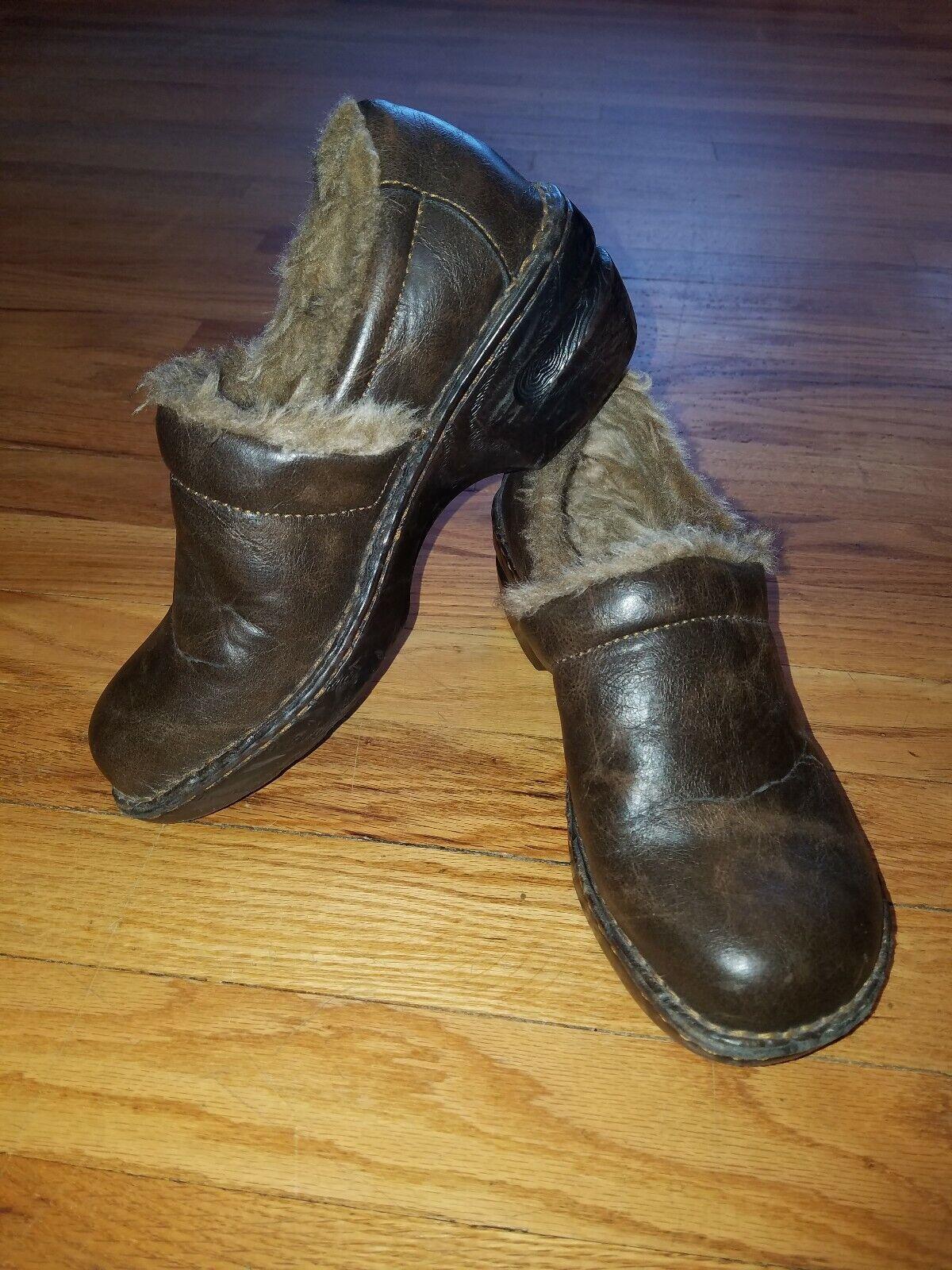 1d90bb23431 BOC Born Brown Leather Faux Fur Clogs 6.5 37 Lined Sz nofyri2775 ...