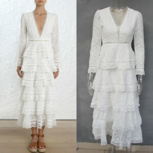 White Black Long Sleeves V Neck Evening Dress Tiered Lace