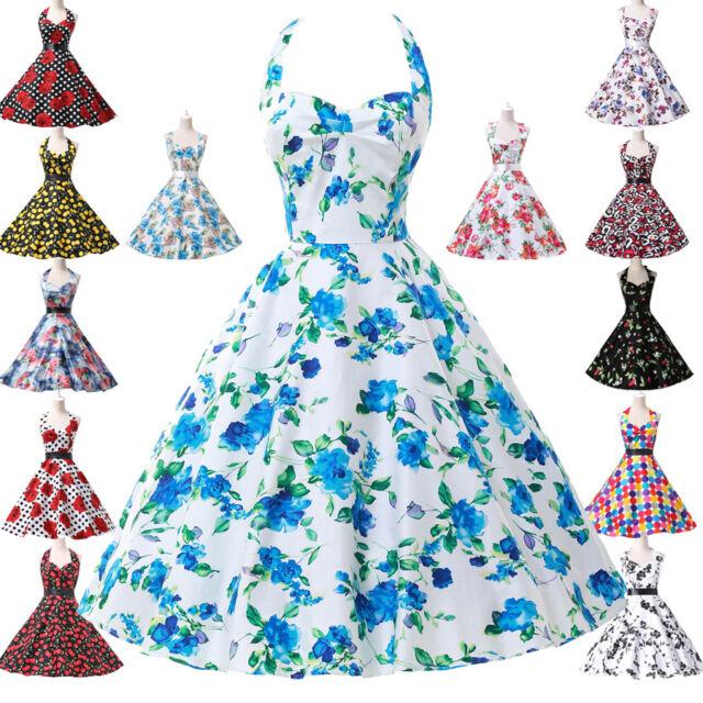 Rock N Roll 2016 Flowers Vintage 50s 60s swing Pinup Housewife Dance TEA Dress