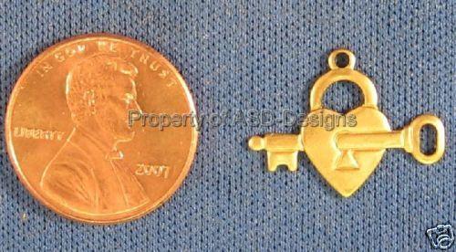 25pc Raw Brass Skeleton Key Heart Lock Charms  6036