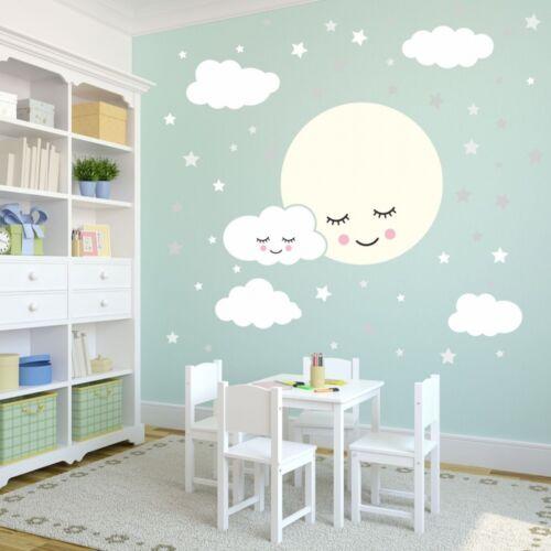 135 luna llena de la etiqueta engomada con nubes y estrellas vivero blanco gris bebé decoración de la pared