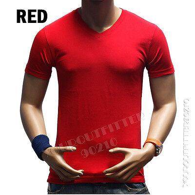 New Men's Plain Slim Fit Plain V-Neck T-Shirts Muscle Tee Short Sleeve S~3XL