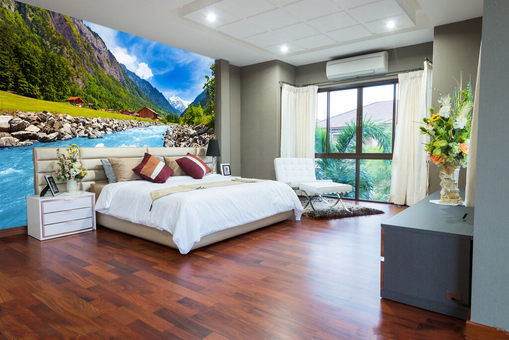 3D Mountains House 529 Wall Paper wall Print Decal Wall Deco Indoor wall Mural