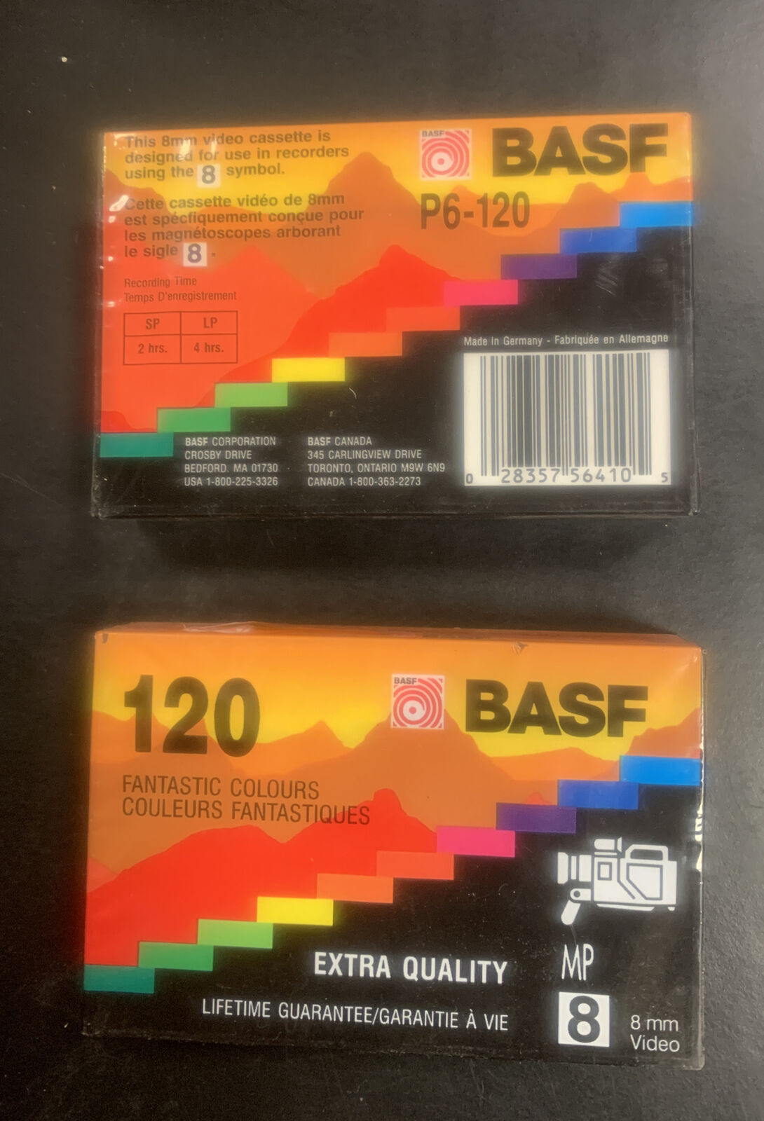 Pack of 2 BASF 8 mm Video Cassettes 120 NEW Factory Sealed extra quality