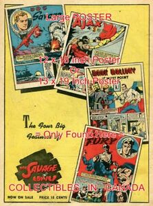 DOC-SAVAGE-1941-Ajax-MALLORY-Cap-Fury-POSTER-Not-Comic-Book-2-SIZES-18-034-or-19-034