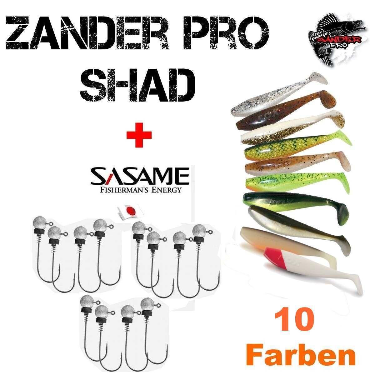 14 cm      20 Teile Set Zander Pro Shad mit SASAME MUSAGA Jig Haken