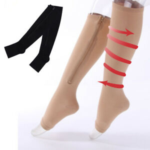 Compression-Socks-With-Zipper-Support-Leg-Knee-Brace-Stockings-Pain-Relief-Women