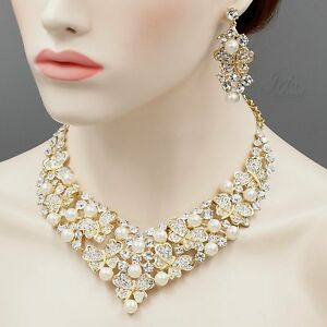 61f9c201c2e9b Details about Gold Plated GP Pearl Crystal Necklace Earrings Bridal Wedding  Jewelry Set 05402