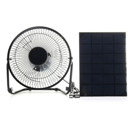 Solar Powered USB Fan Mini Air Ventilator Greenhouse Pet Dog Chicken House Cool