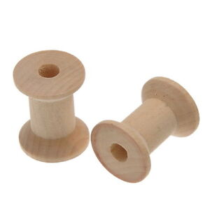 10PCs Wooden Empty Spools Bobbins Natural Color 29mm x23mm