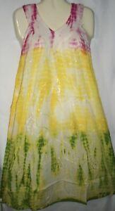 Womens Dress Sleeveless Mumu Green Yellow Pink Tie Dye Free Size Fits Size 1X 2X
