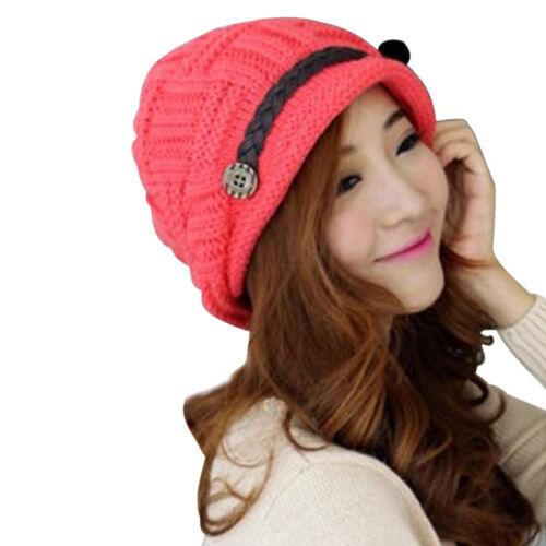 Damen Winter Gestrickte Crochet Hut Slouch Warme Baggy Beret Beanie Cap Mütze GS