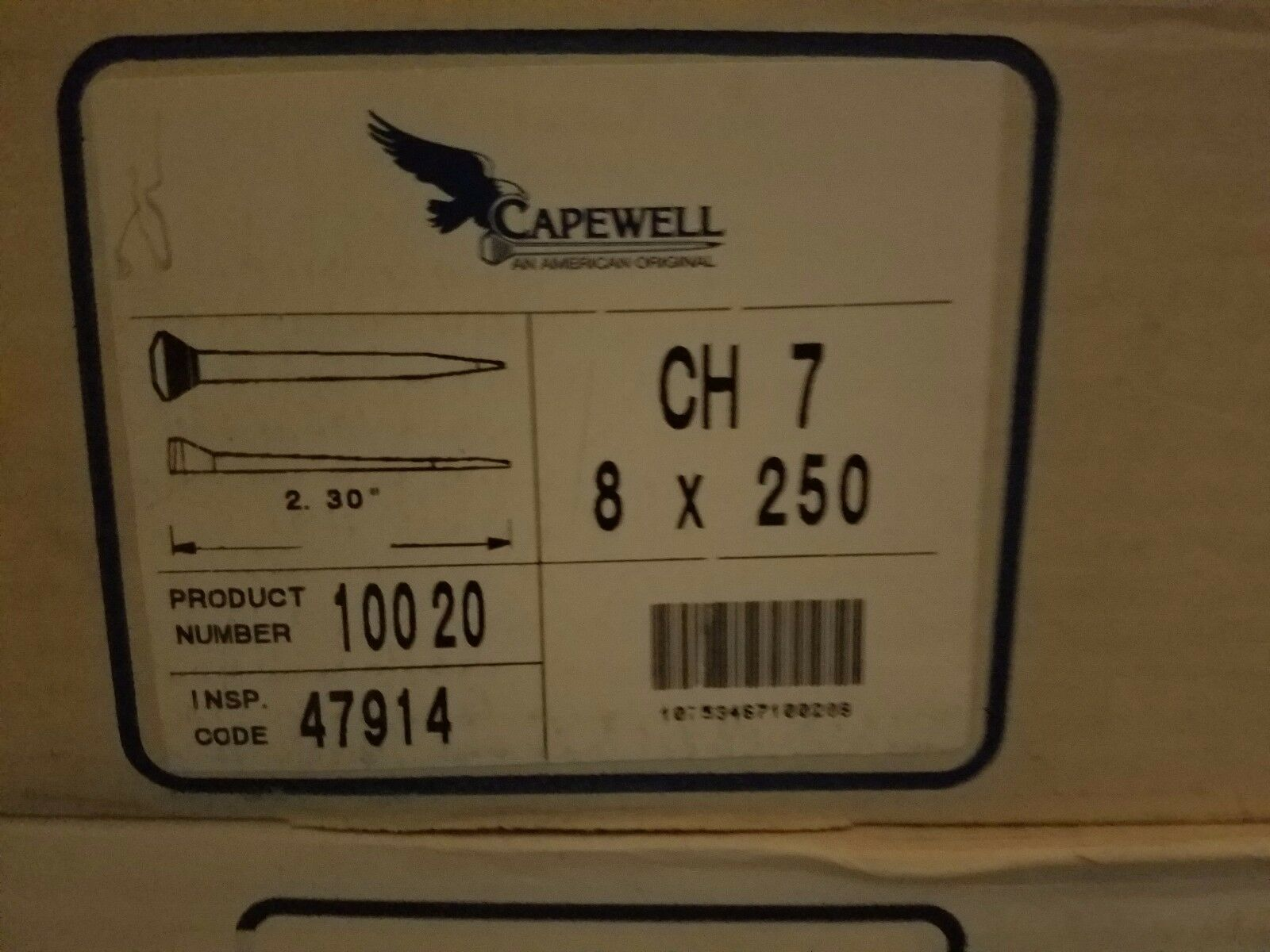 Capewell City Head 7 Horseshoe Nails 1 Case of 8  Boxes 250 Pieces Farrier  new style
