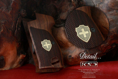 Sig P210 Black Walnut Grips with engraved Swiss Flag
