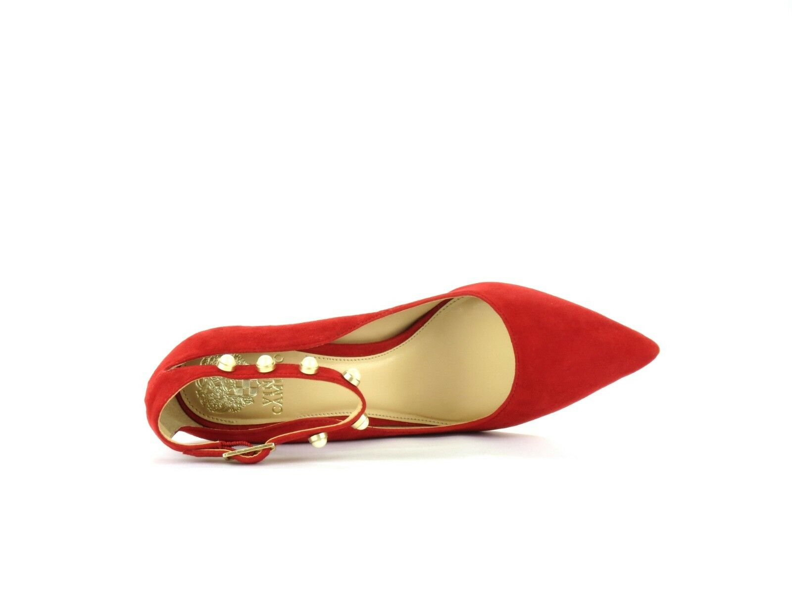 Vince Camuto Jassita Cherry ROT Suede Jeweled Pearl 8 Ankle Strap Pump Heel 8 Pearl 91e28c