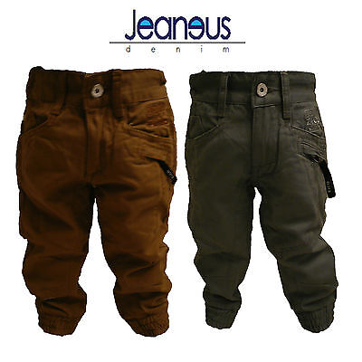 BOYS TODDLER CHINO COMBAT CUFFED JOGGER JEANS GREY /& SAND AGE 2//3 3//4 5//6 7//8