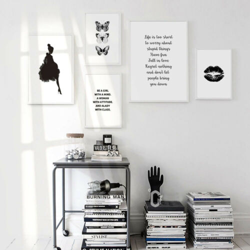 Lips Butterfly Canvas Nordic Poster Motivational Wall Art Print Home Decor